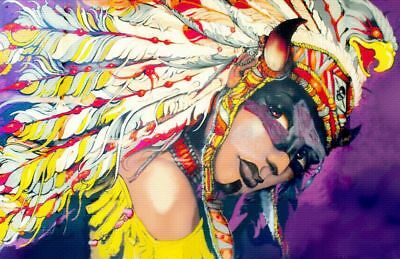 Street Art American Native Indian Girl CANVAS PRINT poster A4