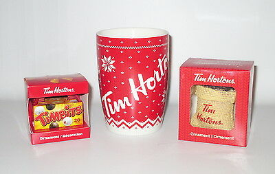 Tim Hortons Christmas Sweater Mug + 2 Ornaments Boxed 2014 - 2016 Timbits Coffee