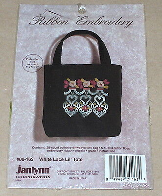 "Janlynn ""White Lace Lil' Tote"" Floral Ribbon Embroidery Kit 5x5x2"""
