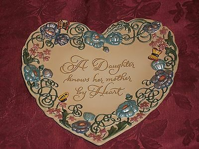 """2002 Bradford Exchange Heart Shaped """"A Daughter Knows by Heart"""" Porcelain Plate"""