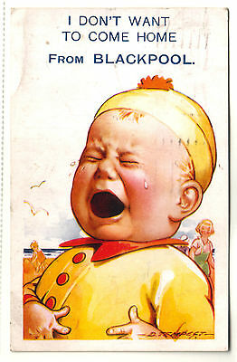Old Postcard Crying Child. Unhappy To Leave Blackpool. Bamforth & Co. Ltd, Holmf