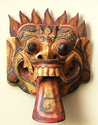 Antique Carved Wood Mahakala Demon Mask Tibet Chinese Fanged Lion Painted Framed