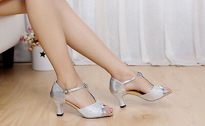 503 Silver Women's Ballroom Latin Tango Dance Shoes Heeled Salsa 5.5cm EU35