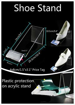 2 4 10x 24cm Audlt Large Clear Acrylic Shoes Retail Display Stand Rack Holder