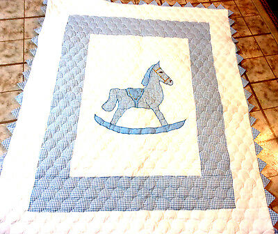 New Handmade  Baby Quilt   or lap Quilt-machine stitched -for Boy -blue & white