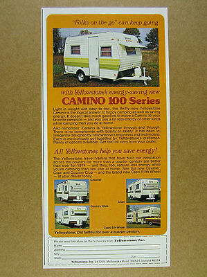 1974 Yellowstone CAMINO 100 Series Travel Trailer photo vintage print Ad