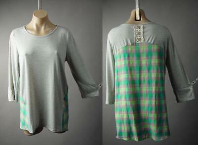 Heather Gray Pastel Plaid Casual Picnic Shabby Chic Jersey Top 236 mv Shirt M L
