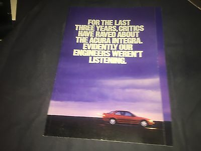 1990 Honda Acura Integra USA Market Color Brochure Catalog Prospekt