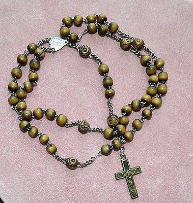Vintage Rosary Crucifix Hand Carved Wood Beads 18 Inches Long