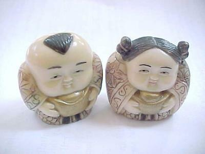 Antique Japanese Signed Netsuke  Man & Woman Figures