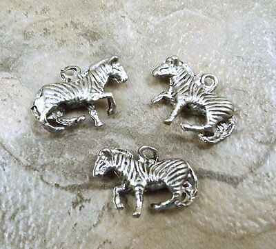 Set of Three (3) Zebra  Charms -  0071
