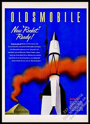 1952 Oldsmobile car V2 rocket art vintage print ad