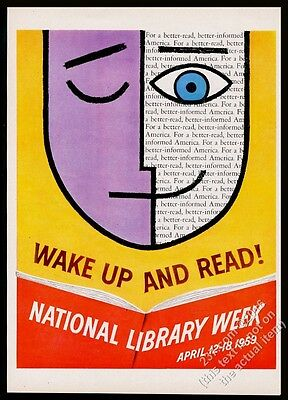 1959 smiling face modern graphic design National Library Week vintage print ad