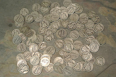100 (two rolls) 90% Silver Mercury Dimes 1916 - 1945 *BUY IT NOW*  Fast Shipping