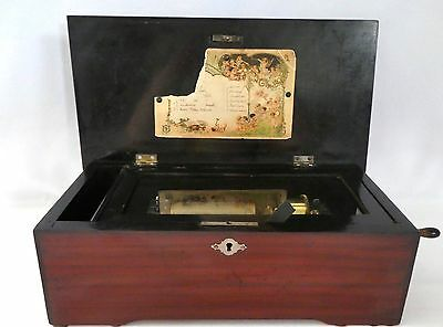 Antique Marque de Fabrique SWISS Cylinder MUSIC BOX.6 airs.Orig Crank.Works Well