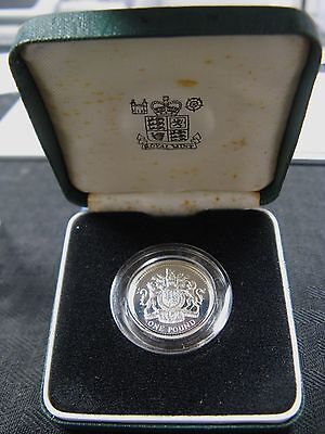 1983 United Kingdom £1 (One Pound) Proof Silver Piedfort Royal Mint Box COA