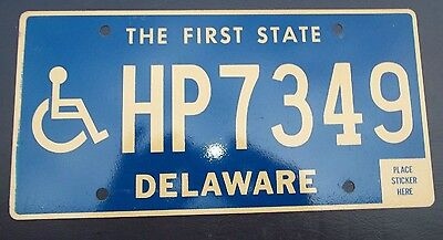 "Delaware License Plate "" Hp 7349 "" De Handicapped Disabled  Wheelchair"