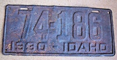 "1930  Idaho  Passenger Auto License Plate "" 74186 ""  Id 30  74 186 Solid Nrp"