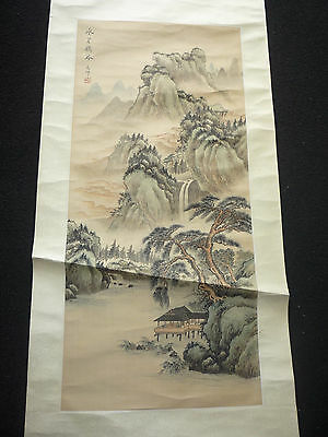 Chinese Landscape Ink & Watercolour Painting on Silk Scroll - Signed