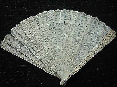 Antique Chinese Hand Fine Carved Bovine Bone Figural Hand Fan