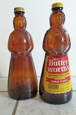 2-MRS BUTTERWORTH SYRUP Bottles-10in 24oz-Metal Caps-1Apron Label
