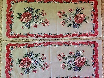 set  2 VTG Table Runners 1950s  Cotton Cloth Textile floral red border