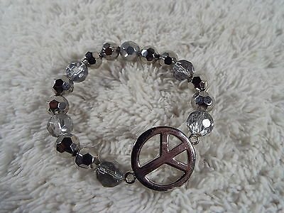 COOKIE LEE Silvertone Bead Peace Sign Symbol Bracelet  (A45)