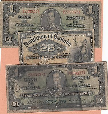 Lot of Canada One & Two Dollar Notes & 25c Fractional; $14.25 total face