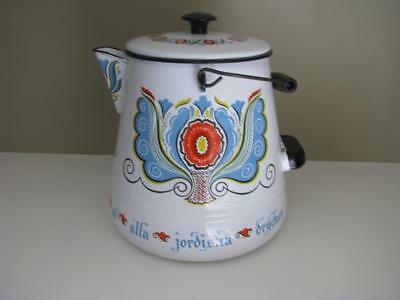 Vintage Berggren Enamel Coffee Pot with wire warming and storage rack
