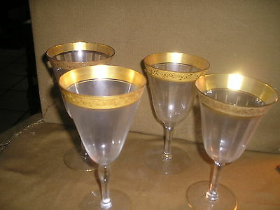 8 Tiffin Minton water glasses Westchester pattern Encrusted Gold Trim