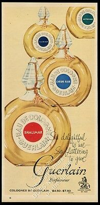 1957 Shalimar cologne Mitsouko L'Heure Vol de Nuit bottle photo vintage print ad