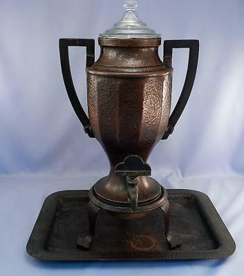 Antique Joseph Heinrichs Hammered Copper & Sterling Silver Electric Coffee Pot