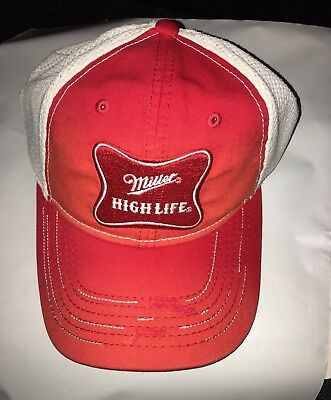 NEW** Miller High Life Trucker Hat,Red & WHTE, Mesh Back, LIVE THE HIGH LIFE!!