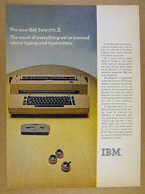 1971 IBM Selectric II Typewriter typeball fontball color photo vintage print Ad