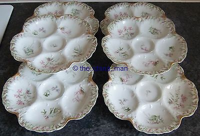 6 piece porcelain OYSTER escargot SEA FAUNA PLATE SET by LIMOGES for TYNDALE etc