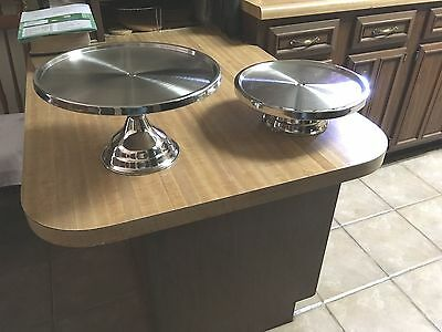 "2 Stainless Steel Cake Stands, Diner, Industrial 13"" & 12"""