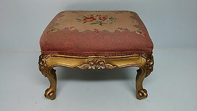 Antique Carved Wood Gilt Needlepoint Foot Stool Ottoman Grand Rapids Mich