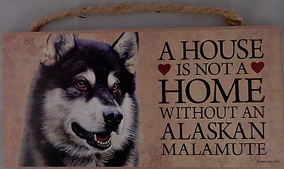 A HOUSE IS NOT A HOME WITHOUT A ALASKAN MALAMUTE 5 X 10 hanging Wood Sign USA!