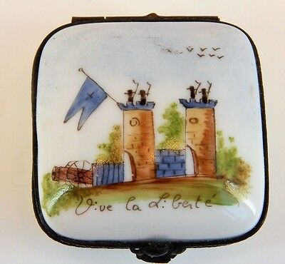 "French Porcelain Hand Painted Hinged Box - French Castle , "" Long Live Freedom"""