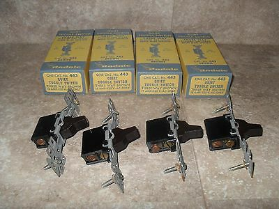 4 Vintage NOS Rodale 443 Brown Three Way Quiet 15 Amp Toggle Switches