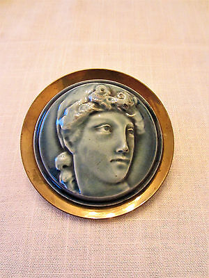 J G&J F LOW ART Tile Works Portrait Parlor Stove Trim 1880s Antique, Greek Woman