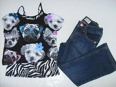 JUSTICE TCP Girls size 6 5 CAMI PUPPY PRINCESS SHIRT JEANS BTS OUTFIT EUC NEW
