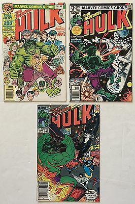 The Incredible Hulk # 200, 250, 300 Lot of 3 Bronze Age Marvel Comics FN- to VF-