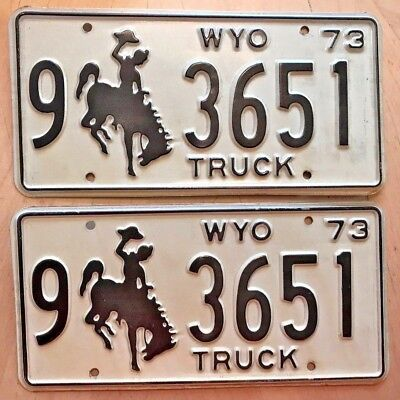 "Mint Wyoming 1973 Truck  Pair License Plate Plates "" 9 3651 "" Bucking Bronco Wy"