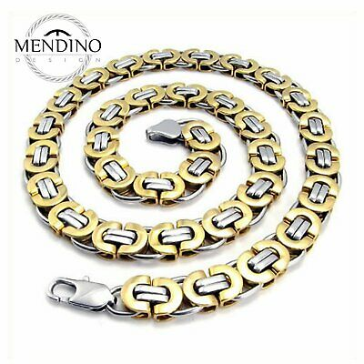 """MENDINO Men's 316L Stainless Steel Necklace Flat Byzantine Gold Tone 11mm 22"""""""