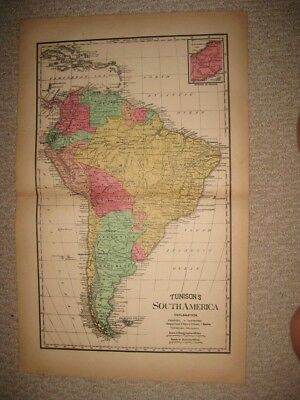 Huge Gorgeous Antique 1888 South America Handcolored Map Panama Brazil Argentina