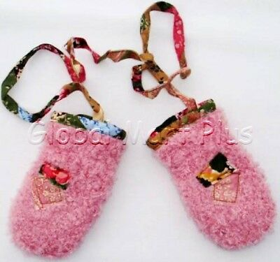 Mittens Gloves Flower Floral Strap Fuzzy Soft Pink S Baby Toddler Girl Cleo Dot