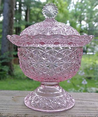 "LG Wright Glass Pink Daisy & Button 7-1/2"" Covered Compote Candy Dish & Lid"