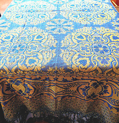 Antique Woven Jacquard Brocade Coverlet Blue and Golden Yellow 93x96