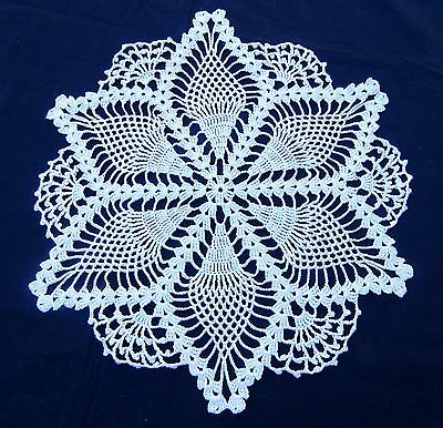 "Vintage Crochet Lace Doily Beige Cotton Pineapple 13.5"" Round"